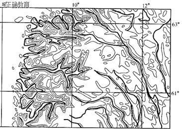 读斯堪的纳维亚半岛部分地区等高线地形图