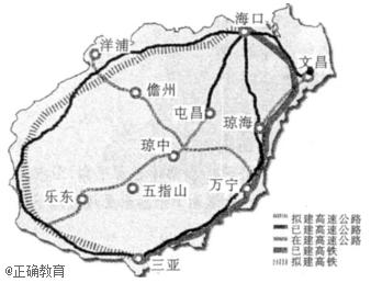 """读""""海南岛高铁与高速公路走向示意图""""."""