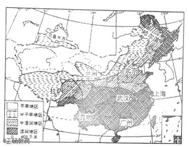其中湿润和半湿润地区的分界线大致通过(山脉)