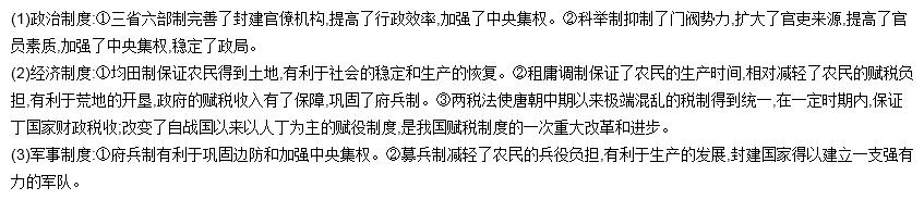 隋唐时期是中国封建社会制度创新的重要时代,概括隋唐