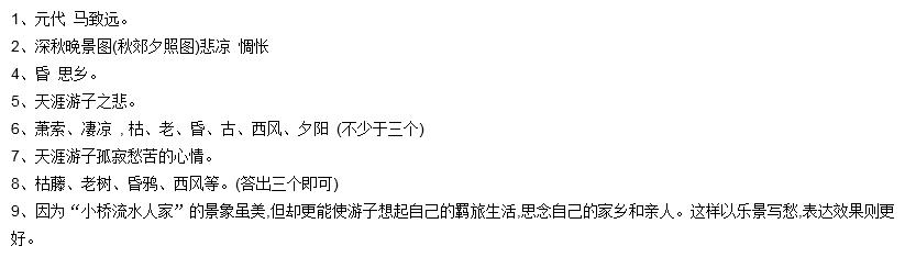 天净沙·秋思 马致远 枯藤老树昏鸦 小桥流水人家, .