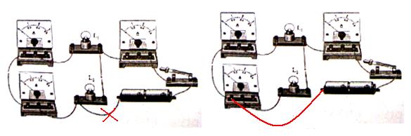 小明用三个电流表和两个灯泡做实验