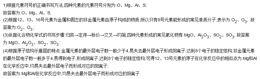 13,16号(原子序数)元素的原子结构示意图