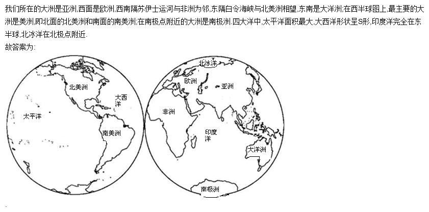 七大洲四大洋的名称